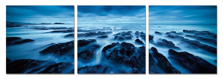 Rocky Shore at Twilight Mounted Art Print