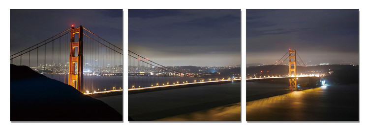San Francisco - Golden Gate at Night Mounted Art Print