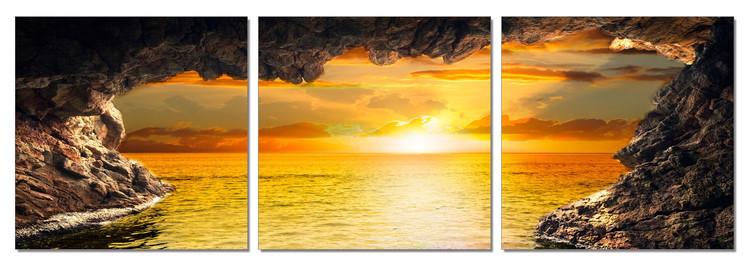 Sea - Sunset View Mounted Art Print