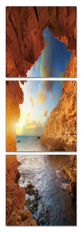 Sea - View from the Cave Mounted Art Print