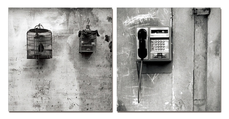 Street Art Photo Industrial (B&W) Mounted Art Print