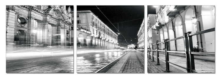 Turin - Night Rush Mounted Art Print