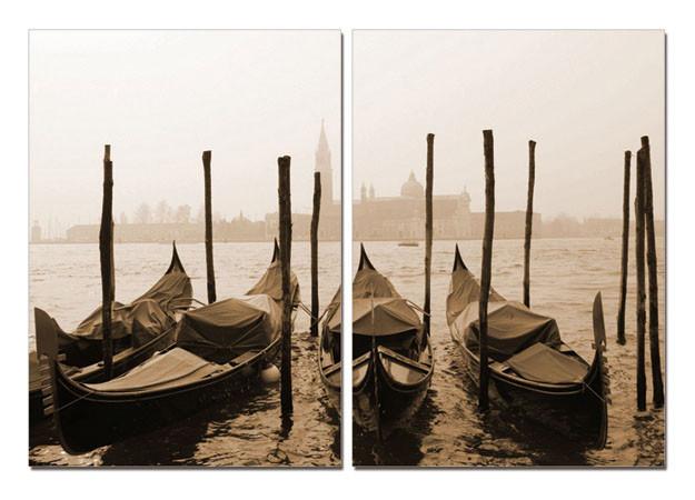 Venice - Gondolas, sepia Mounted Art Print