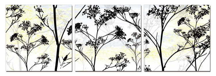 Wild Flower Silhouette Mounted Art Print