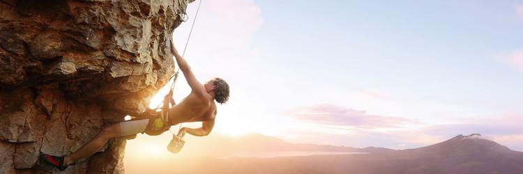 Quadro em vidro Be Brave and Climb It