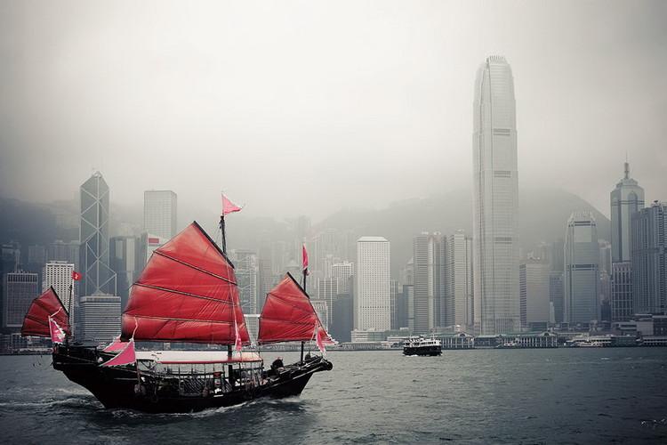 Quadro em vidro Hong Kong - Red Boat