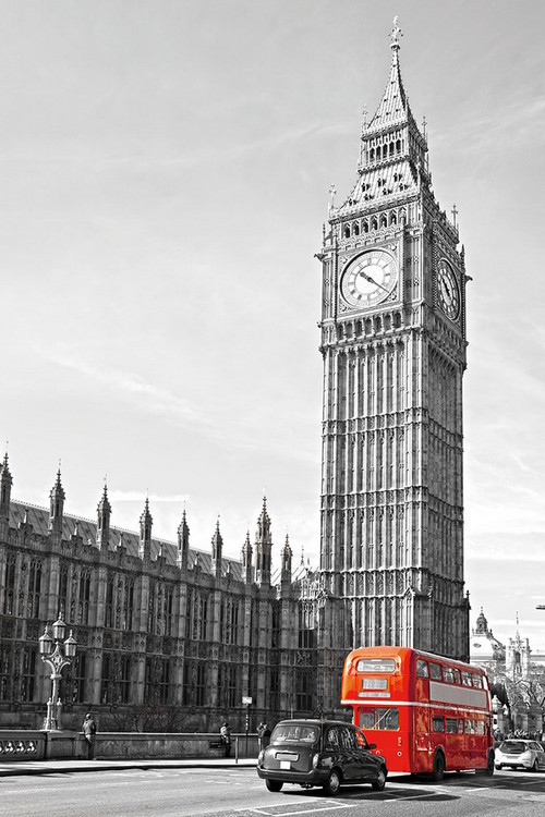 Quadro em vidro London - Big Ben and Red Bus