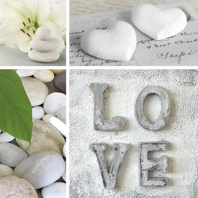Quadro em vidro Love - White Collage
