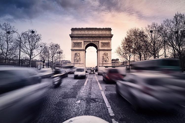 Quadro em vidro Paris - Arc de Triomphe Sunset