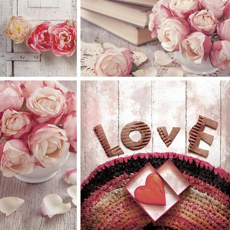 Quadro em vidro Pink World - Love