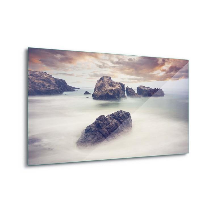 Quadro em vidro  Waves And Rocks