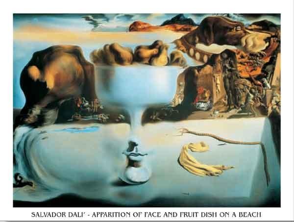 Reprodução do quadro Apparition of Face and Fruit Dish on a Beach, 1938