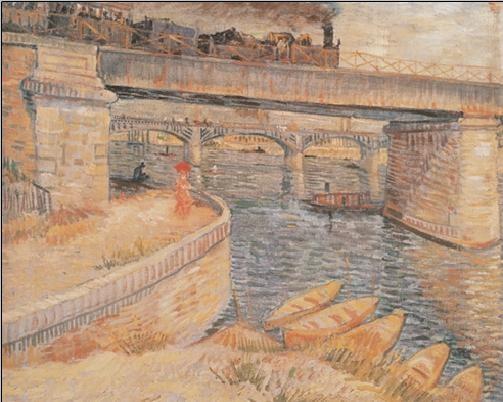 Reprodução do quadro Bridge across the Seine at Asnieres, 1887