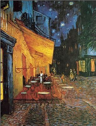 Reprodução do quadro  Café Terrace at Night - The Cafe Terrace on the Place du Forum, 1888