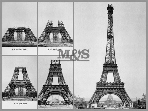 Reprodução do quadro Construction on Eiffel Tower 1889