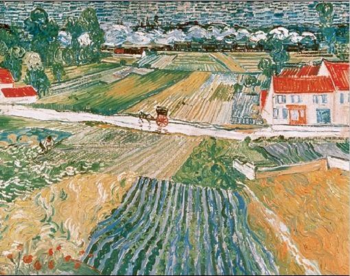 Reprodução do quadro  Landscape at Auvers after the Rain, 1890 (part.)
