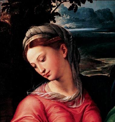 Reprodução do quadro Madonna and Child with Saint Michael, Joseph and St. John the Baptist (part)