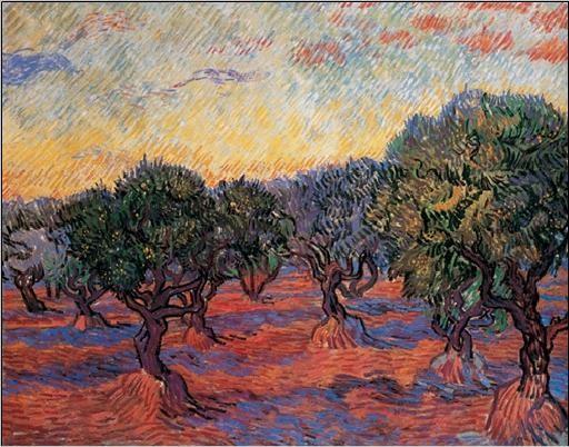 Reprodução do quadro  Olive Grove: Orange Sky, 1889