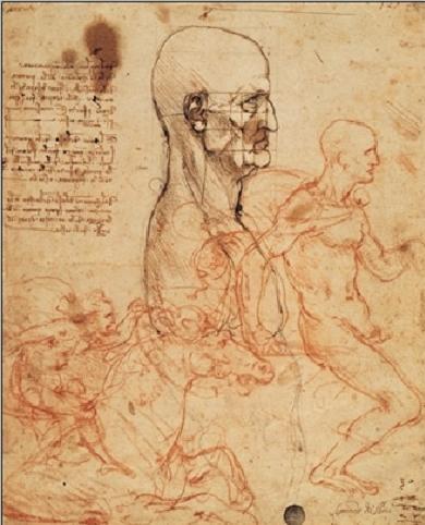 Reprodução do quadro Profile of a man and study of two riders