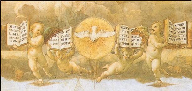 Reprodução do quadro Raphael - The Disputation of the Sacrament, 1508-1509 (part)
