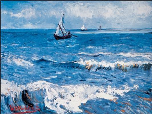 Reprodução do quadro Seascape at Saintes-Maries, 1888