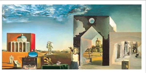 Reprodução do quadro Suburbs of a Paranoiac Critical Town - Afternoon on the Outskirts of European History, 1936