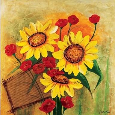 Reprodução do quadro Sunflowers and Poppies