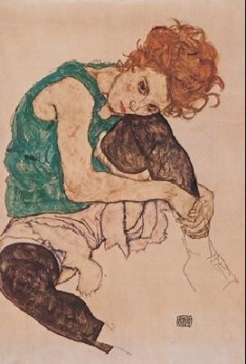 Reprodução do quadro The Artist's Wife  - Seated woman with bent knee, 1917