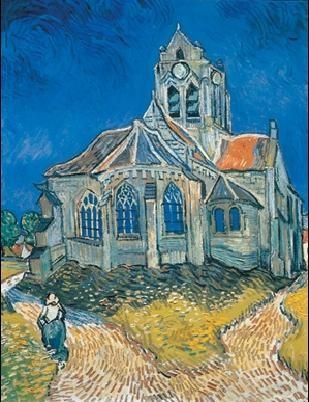 Reprodução do quadro The Church at Auvers, 1890
