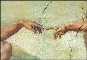 Reprodução do quadro The Creation of Adam (Part)