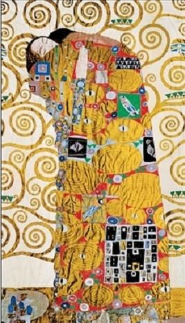 Reprodução do quadro The Fulfillment (The Embrace) - Stoclit Frieze, 1909