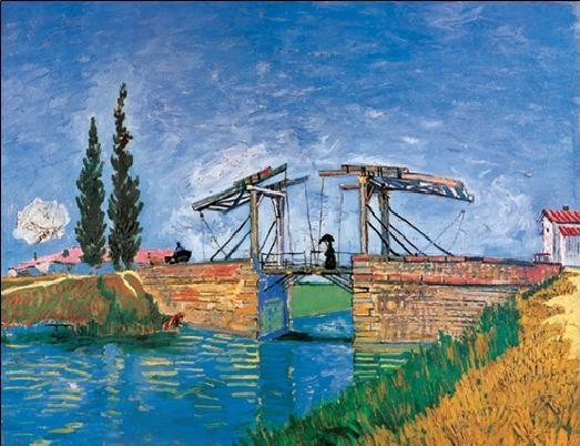 Reprodução do quadro The Langlois Bridge at Arles, 1888