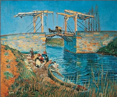 Reprodução do quadro  The Langlois Bridge at Arles with a Washerwoman, 1888