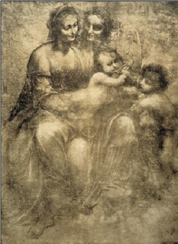 Reprodução do quadro The Virgin and Child with St Anne and St John the Baptist - Burlington House Cartoon