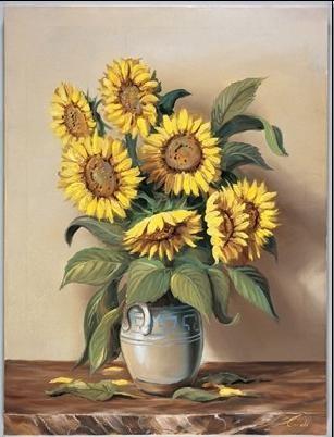 Reprodução do quadro  Vase of Sunflowers