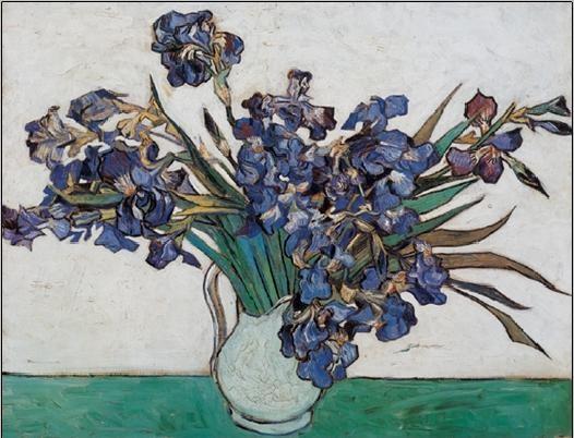 Reprodução do quadro Vase with Irises, 1890