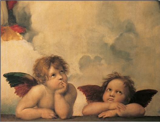 Raphael Sanzio - Sistine Madonna, detail – Cherubs, Angels 1512 Reproduction d'art