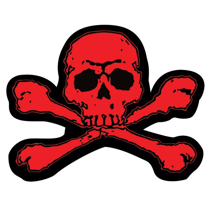 Skull crossbones red sticker