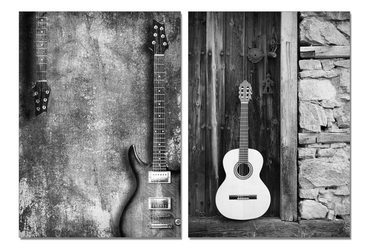 Street Art Photo Guitars (B&W) Tableau Multi-Toiles