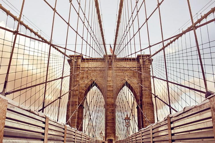 Tableau sur verre Brooklyn Bridge - Old Style, New York