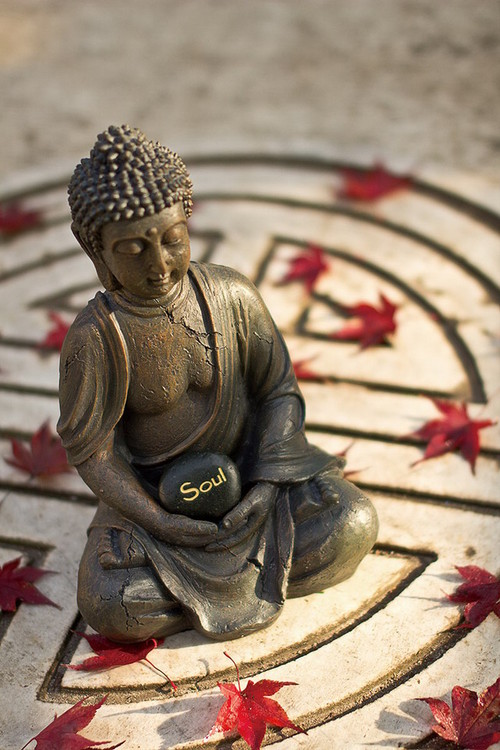 Tableau sur verre Buddha - Red Lieves
