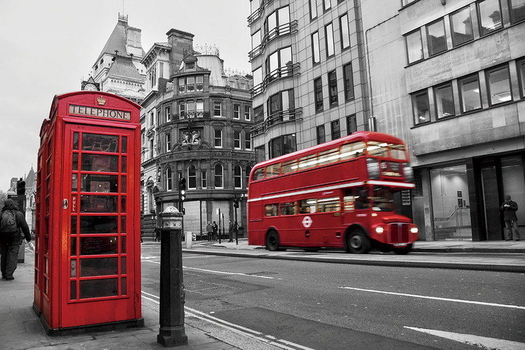 Tableau sur verre London - Red Bus and Telephone Box