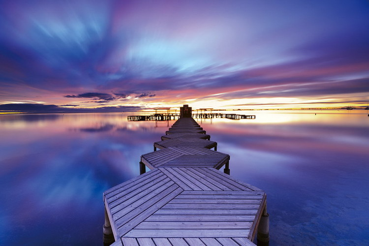Tableau sur verre Wooden Landing Jetty - in the Morning