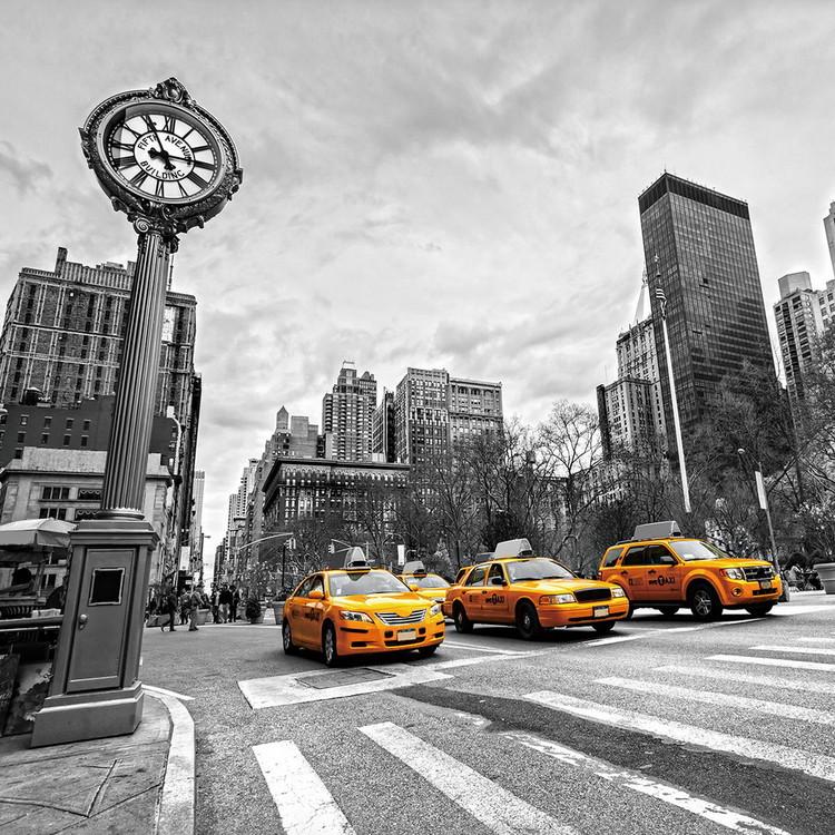 Tableau sur verre Yellow Taxi - b&w