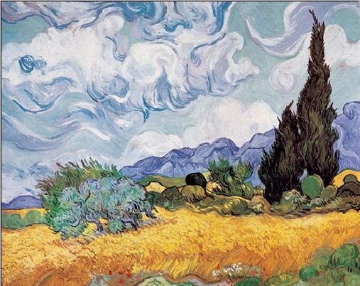 A Wheatfield with Cypresses, 1889 Taidejuliste