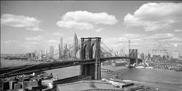 Brooklyn Bridge & City Skyline 1938 Taidejuliste