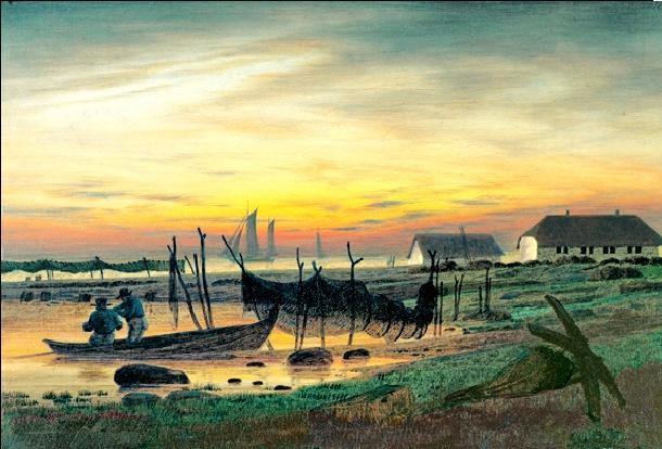 Coastal Landscape in Twilight, 1818 Taide