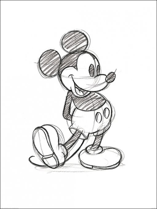 Mikki Hiiri (Mickey Mouse) - Sketched Single Taidejuliste