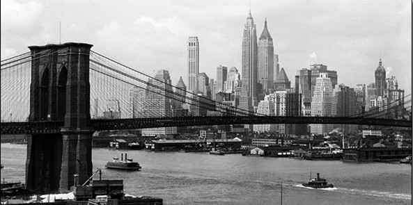 New York - Manhattan skyline and Brooklyn bridge Taide