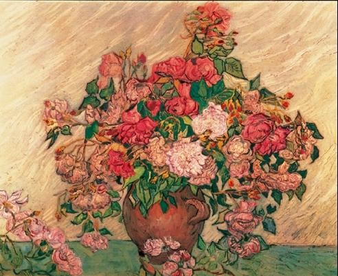 Vase with Pink Roses, 1890 Taidejuliste